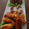 ハワイアン肉揚げ、アスパラの肉巻きグリル、焼肉おにぎり